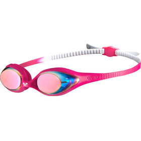 arena Spider Mirror Gogle Dzieci, white-pink-fuchsia